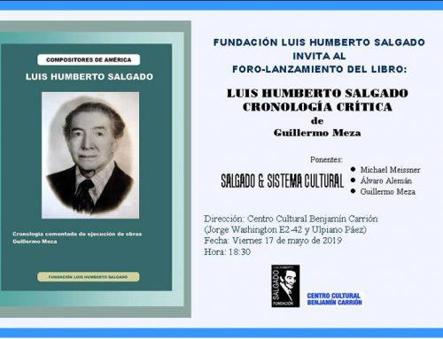 """PRESENTACIÓN DEL LIBRO """"LUIS HUMBERTO SALGADO, CRONOLOGÍA CRÍTICA"""""""