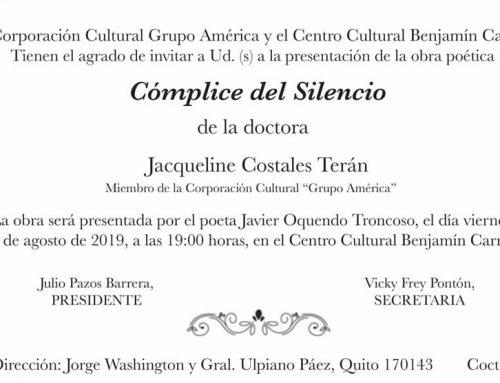 'CÓMPLICE DEL SILENCIO' POEMARIO DE JACQUELINE COSTALES TERÁN